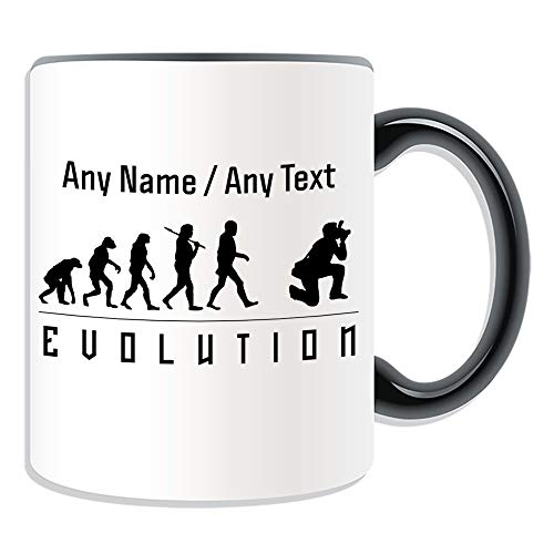 White Coffee Mug 11 Funny Mugs Colorful Coffee Mugs Personalised Gift Photographer Mug Money Box Cup Evolution Design Camera Name For Kids Men and Woman
