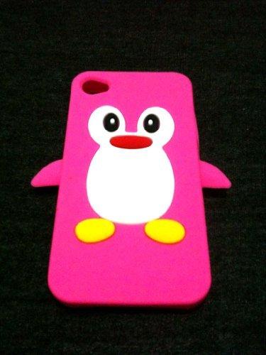 Niedlicher Hot Pink Pinguin Silikon Skin Schutzhülle für iPhone 44S Case Cover Animal Funky Snoopy