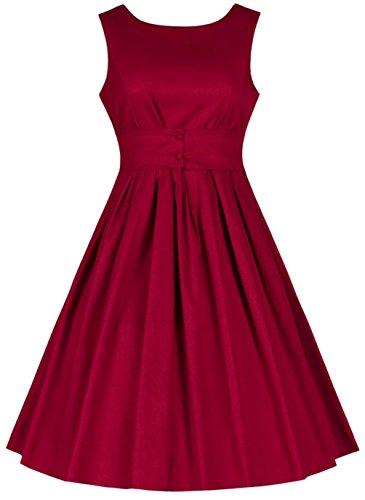 Wenseny Damen Kleid Vintage Elegante Ärmellos Party Kleid Schwingen Cocktailkleider Rot