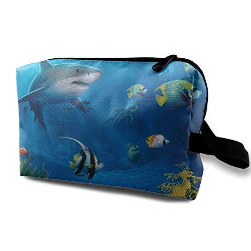 Travel Cosmetic Bags Ocean Fishes Travel Portable Makeup Bag Zipper Wallet Hangbag Hanging Toiletry Bag