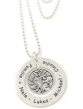 Familienkette Baum des Lebens inkl. Lasergravur Echt Silber Namenskette Leben...