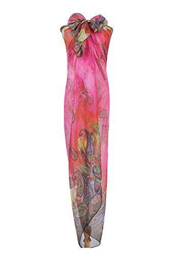 PB-SOAR XXL Damen Sarong Pareo Strandtuch Wickelrock Wickeltuch Schal Halstuch mit Paisleymuster, weich und leicht (Farbe 2)