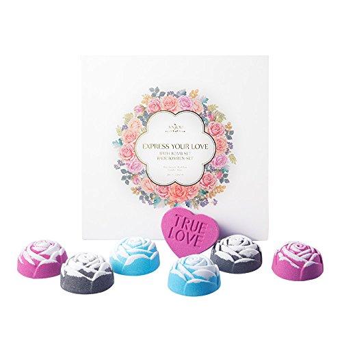 Bomba de Baño Set de Regalo de Anjou con Rosa Roja, Rosa Azul, y Rosa Negra (Regalo Romántico o de Día Festivo Ideal, Aromas Florales, 6 x Bombas en Forma de Rosa, 1 x Bomba en Forma de Corazón)