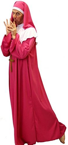 Schwester Akt-Monty Python-Hirsch Nächte Kostüm Kleid KIRSCHROT ROSA HERREN NUN mit Kreuz - Von Teen bis XXXXL - Wie abgebildet, Men: (Kostüm Python)