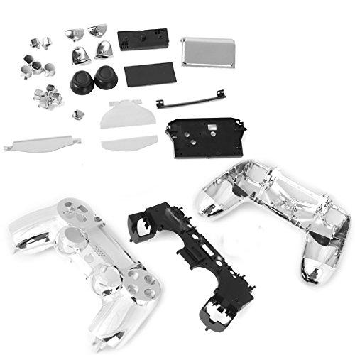 Ps4 Steuerung Fall (Metall überzogen Vollständige Gehäuseschale Fall Button Kit für PlayStation4 PS4 drahtlos Controller - Silber)