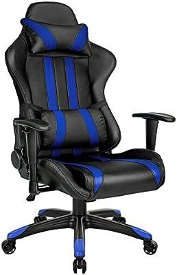 TecTake Silla de oficina ergonomica racing gaming con soporte lumbar negro azul