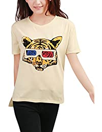Allegra K Women Short Sleeve Tiger T Shirts Summer Casual Tops
