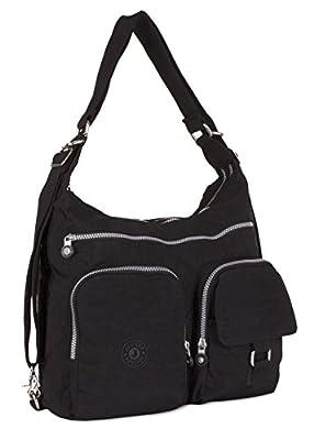 Big Handbag Shop Rainproof Fabric Zip Pockets Convertible Backpack Cross Body Messenger Shoulder Bag