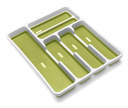 Addis Premium Anti-Slip Soft Base Drawer Cutlery Organiser Tray, White/Green