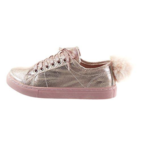 Angkorly - Scarpe da Moda Sneaker donna pon pon Tacco a blocco 2.5 CM Rosa