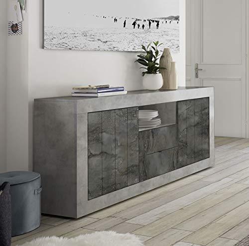 Mobile contenitore 2 ante 2 cassetti moderno effetto cemento e ossido ante con serigrafia soggiorno madia buffet con sportelli design urbe 07