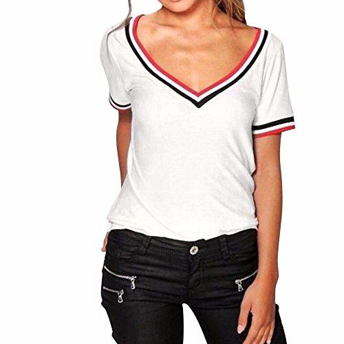 Zarupeng scollo a V T-shirt popolare puro Maglietta sport Donna allentato Top Camicia Moda camicetta Bianco