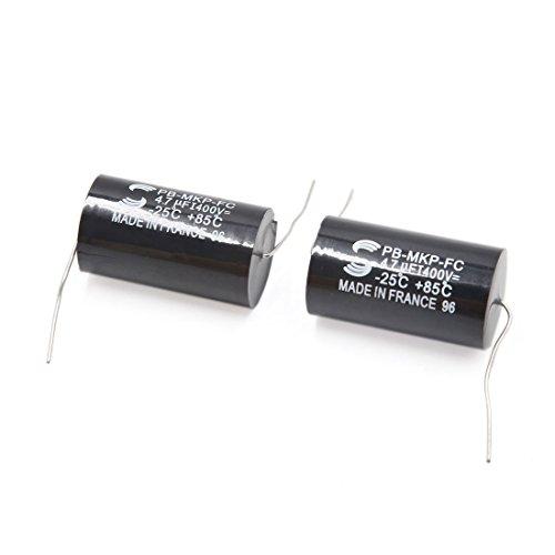 sourcingmap 2pcs 4.7uF 6.3-400V 20 x 36mm noir Condensateur électrolytique Audio pour voiture