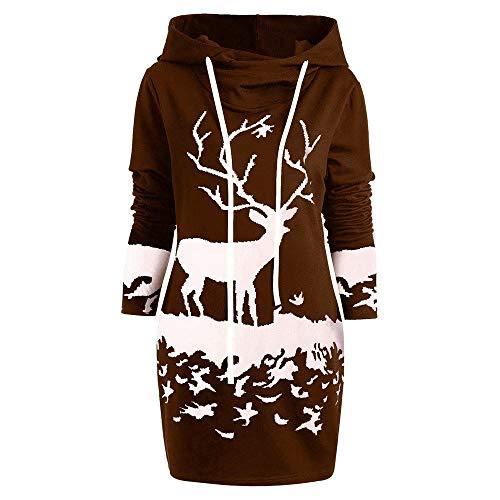 (Riou Weihnachtskleid Pulloverkleid Damen Herbst Langarm Schneeflock Lang Gedruck Knielang Hoodie Sweatshirt Blouse Kleider (2XL, Kaffee H))