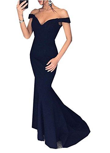 Sexy Meerjungfrau Abendkleider Off-the-Shoulder V-Ausschnitt Lange Ballkleider