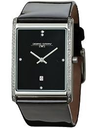 Jörg Gray Damen Analog Armbanduhr JG2600–12mit schwarzem Zifferblatt und Lederband