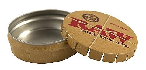 2x RAW Blechdose rund Ø 51mm H 17mm Tin Pillen Dose Pop Up Verschluss Click clack