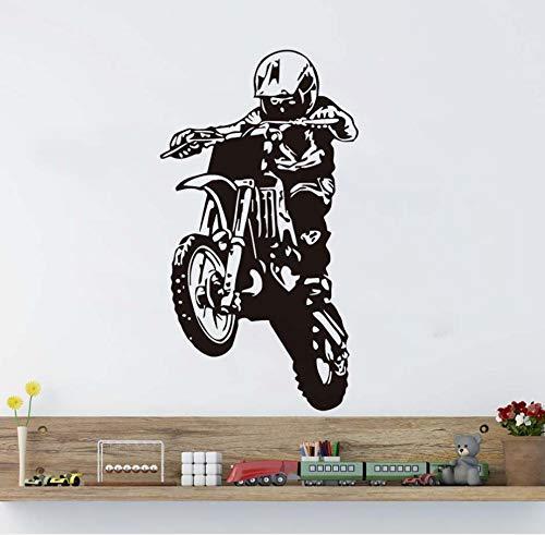 xlei Wandaufkleber Wandaufkleber Motocross Silhouette Motorrad Enthusiasten Wohnkultur Poster Vinyl Klebstoff DIY Abnehmbare Wandtattoos Junge Rooms58X106Cm