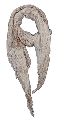 Baumwolle extra langer Diagonal-Cut in braun mit leichtem Blumenranken-Design, XXl 250 cm Überlänge Oversize Tuch Nr.282 (Ravenclaw Hat Schal)