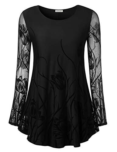 BAISHENGGT - Camisas - Plisado - Floral - Manga Larga - para Mujer Negro Black Floral