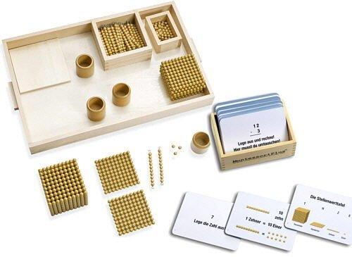 Arbeitskartei zum Goldenen Perlenmaterial 100 Lernkarten Selbstkontrolle Montessori Material inkl
