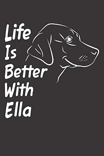 Life Is Better With Ella: Blank Dotted Female Dog Name Personalized & Customized Labrador Notebook Journal for Women, Men & Kids. Chocolate, Yellow & ... & Christmas Gift for Dog Lover & Owner. (Teen Mom-shirt)