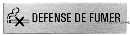 OFFORM Plaque de Porte en Acier INOX brossé, Pictogramme Defense de Fumer 160 x 40 mm No.8619