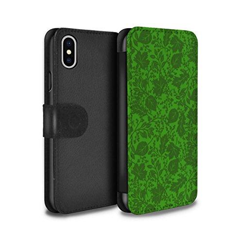 Stuff4 Coque/Etui/Housse Cuir PU Case/Cover pour Apple iPhone X/10 / Rouge Design / Motif Feuille/Silhouette Collection Vert