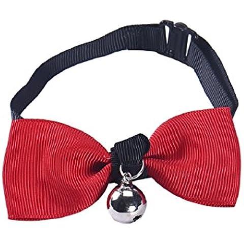 Malloom® Regolabile Cane Collare Gatto Arco Legame Cucciolo Campana Gattino Cravatta (Rosso)