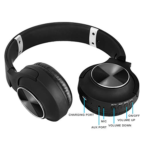 RICHVOLT Wireless Bluetooth Over Ear Stereo Foldable Noise Cancelling Headphones,Wireless and Wired Mode Headsets with Soft Protein Earmuffs,SD/TF Card Slot, Built-in Mic for Mobile Phone PC Laptop Image 7
