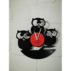 Wanduhr aus Vinyl Schallplattenuhr mit Eulen Motiv upcycling design Uhr Wand-deko vintage-Uhr Wand-Dekoration retro-Uhr