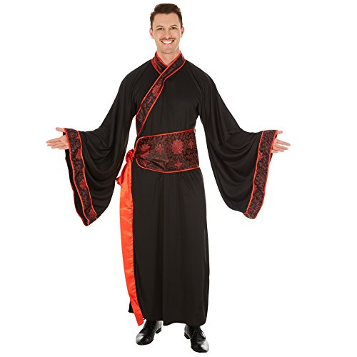 TecTake dressforfun Herrenkostüm Asiate | Langer Kimono | Fernöstliche Verkleidung | inkl. Extra Gürtel (L | Nr. 301042)