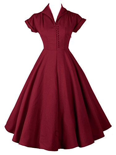 LUOUSE 1950's Vintage Robe de Soiree Swing Party WineRed