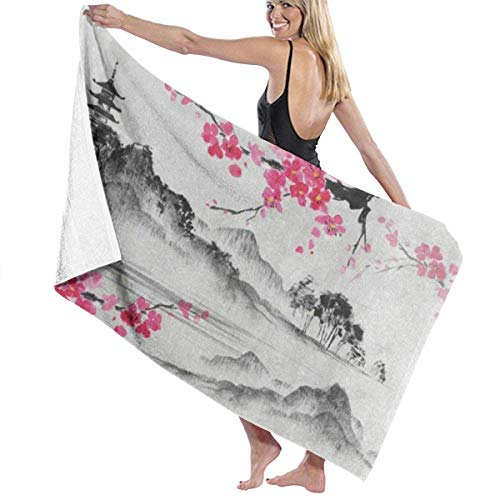 Serviette de bain, Japanese Oil Painting Cherry Blossom Sakura Flower Personalized Custom Women Men Quick Dry Lightweight Beach & Bath Blanket Great for Beach Trips, Pool, Swimming and Camping 31