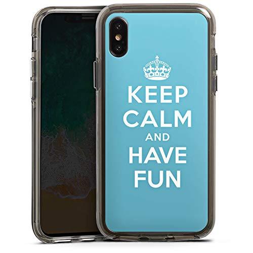 DeinDesign Apple iPhone XS Bumper Hülle grau transparent Bumper Case Schutzhülle Keep Calm Fun Phrase