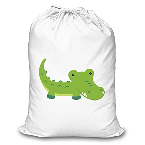 Cute Giungla carattere coccodrillo sublimazione Stuff Bag, unisex, White, M