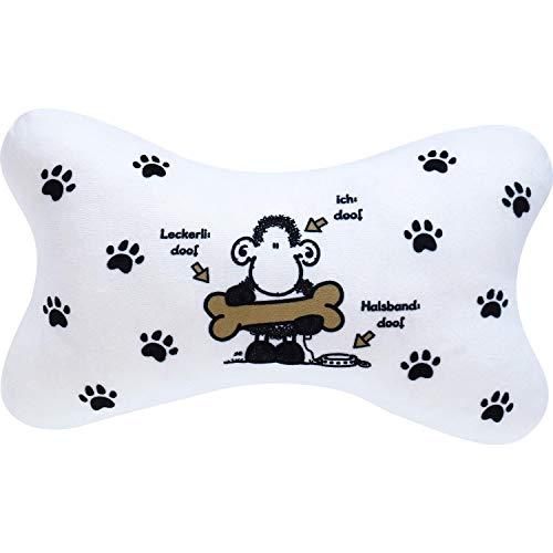 Sheepworld 45707 kleines Kissen Ohne Hund ist Alles doof, 35 cm x 20 cm, in Knochen-Form -