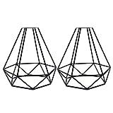 Vintage Käfig Lampenschirm, La Vane 2 Stück Antike Industrielle Kreative DIY Draht Lampenschirm, Diamant Form, Metall, schwarz für Deckenventilator Pendelleuchte Deckenleuchte Wandleuchte