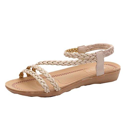 Transer ® Mode Fashion femmes Bohème loisirs plat sandales pour la maison de la plage Beige