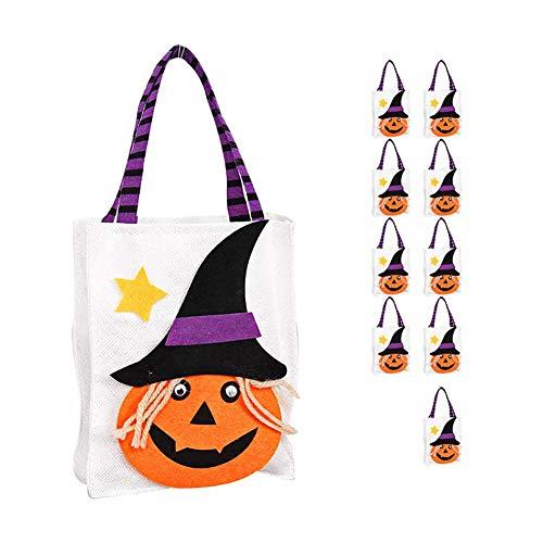 Monbedos 10 Stück Beutel für Süßigkeiten oder Leckerlis, Cartoon-Kürbisbeutel für Kinder, tragbar, mit Griffen für Party-Geschenke, zufällige Farbe Black Hat Pumpkin 2
