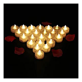 Led Tea Lights LED Candles, Glamouric Flickering flameless Tea Lights for Halloween Merry Christmas Festivals House Wedding Anniversary Party Decoration (24 Packs, Batteries Included)