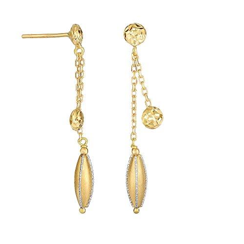 14kt oro giallo + bianco lucido con taglio diamante Fancy Dou BLE Stranded catena cavo orecchini a goccia