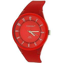 Kangol Unisex Analogue 5ATM Quartz Dial Red Rubber Strap Watch KAN64B