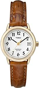 Timex Women's Quartz Watch with White Dial Analogue Display and Brown Leather Strap T2J7614E