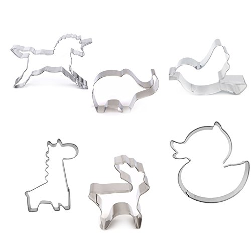 Hacoly Pastry Bakeware Decoration Stainless Steel Animal Cookie Cutters Animal Cake Jelly...