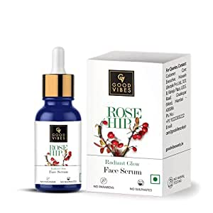 Good Vibes Rose Hip Radiant Glow Face Serum, 10 ml Light Weight Non Greasy Moisturizing Anti Ageing Formula For All Skin Types, Corrects Dark Spots, Natural, No Parabens & Sulphates, No Animal Testing