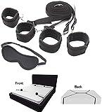HeyFun 2 Pack Bed Restraints + Eye Mask Blindfold Restraint Straps Underbed Adjustable Exercise Bands