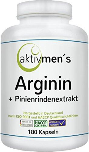 aktivmen´s Arginin plus Pinienrindenextrakt (OPC) in Premium-Qualität - hochdosiert - hergestellt in Deutschland • L-Arginin Base + Extrakt aus Pinienrinde, ideal kombiniert - 180 Kapseln, 1 Dose (1 x 135 g)