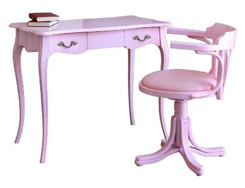 Scrittoio e sedia rosa, scrittoio con cassetto, stile classico sagomato largo 90 cm, sedia girevole da ufficio con ecopelle rosa e legno di faggio laccato rosa, scrivania e sedia per camera da letto. nuovo, made in italy alta qualità