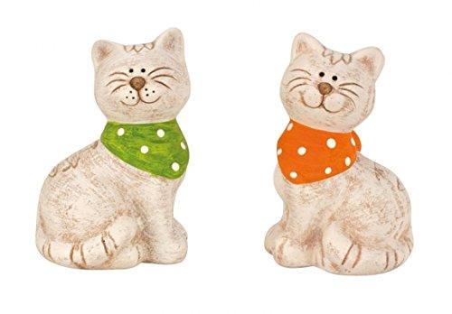 Chat figure avec foulard ensemble statue 2 pièces